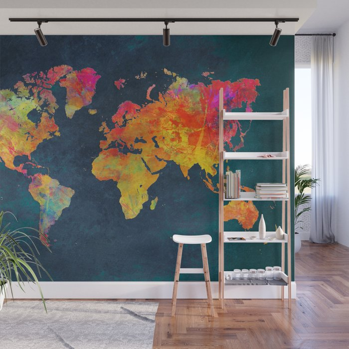 World Map Wall Mural World Map blue #world #map Wall Mural by jbjart | Society6
