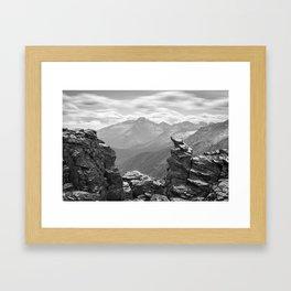 LONGS PEAK BLACK & WHITE - COLORADO ROCKY MOUNTAIN NATIONAL PARK - LANDSCAPE NATURE PHOTOGRAPHY Framed Art Print