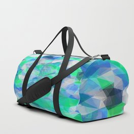 geometric polygon abstract pattern in blue and green Duffle Bag