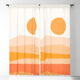 Abstract Landscape 09 Orange Blackout Curtain