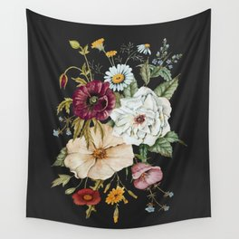 Colorful Wildflower Bouquet on Charcoal Black Wall Tapestry