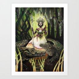 Crocodile Queen Art Print