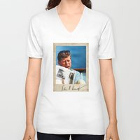 jfk V-neck T-shirts featuring JFK Boat by Sport_Designs