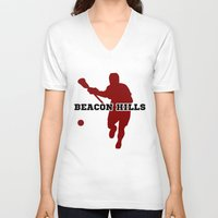 lacrosse V-neck T-shirts featuring Beacon Hills Lacrosse by Keyweegirlie