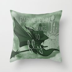 Everyone Deserves the Chance to Fly (green) Throw Pillow
