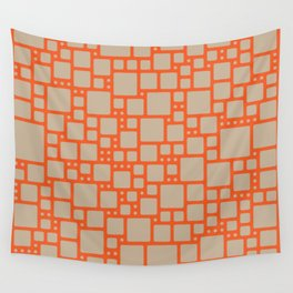 abstract cells pattern in orange and beige Wall Tapestry