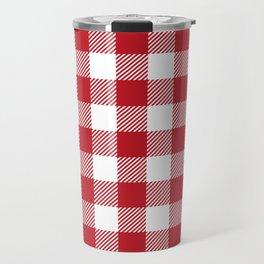 Buffalo Plaid - Red & White Travel Mug