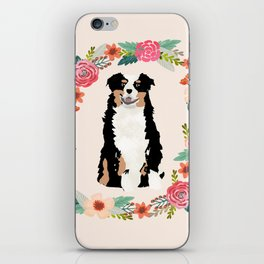 australian shepherd tricolored floral wreath dog gifts pet portraits iPhone Skin