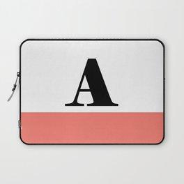 Monogram Letter A-Pantone-Peach Echo Laptop Sleeve