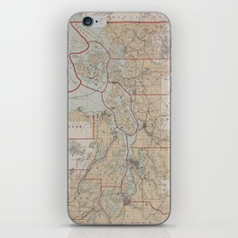 Vintage Map of The Puget Sound (1899) iPhone Skin