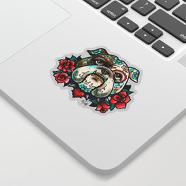 Sugar Skull Bulldog with Roses Sticker