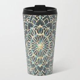 Sea Shimmer Mandala - Gold + Turquoise Travel Mug