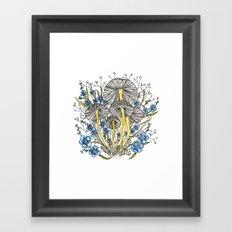Blue Flowers and Mushrooms Framed Art Print