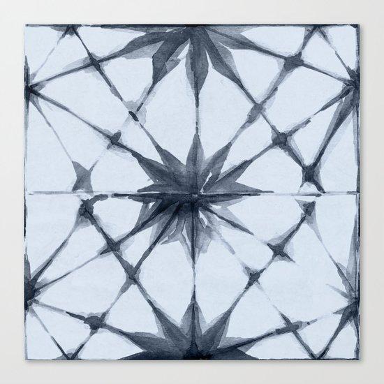 Shibori Starburst Indigo Blue on Sky Blue Canvas Print