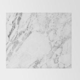White marble hexagonal beehive Throw Blanket