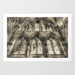 Rochester Cathedral Stained Glass Windows Vintage Art Print