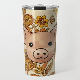 Retro Floral Piggy Travel Mug