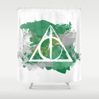 slytherin Shower Curtains featuring The Deathly Hallows (Slytherin) by FictionTea