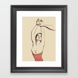 Simply Dirty - erotic nude, BDSM slave girl in red fetish corset tied, sexy Master - Sub games Framed Art Print