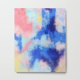 Spring vibes: pink & blue abstract Metal Print