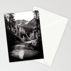 The road through the forrest below the mountains Stationery Cards