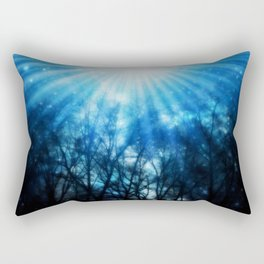There Is Hope In the Light : Black Trees Blue Space Rectangular Pillow