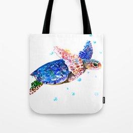 Sea Turtle, blue rainbow Tote Bag