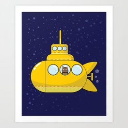 Yellow submarine in deep sea with a cat and bubbles Art Print
