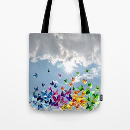 Butterflies in blue sky Tote Bag