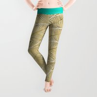 tropical Leggings featuring Tropical Gold by Cat Coquillette