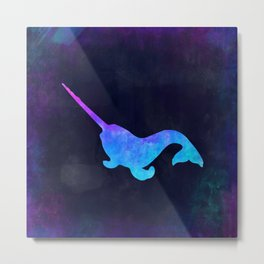 NARWHAL IN SPACE // Animal Graphic Art // Watercolor Canvas Painting // Modern Minimal Cute Metal Print