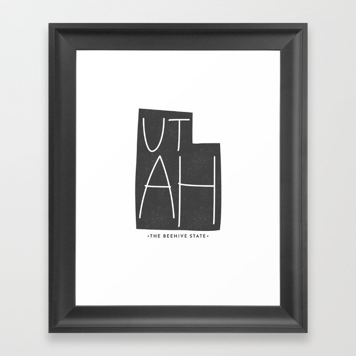 Utah | Gray Framed Art Print