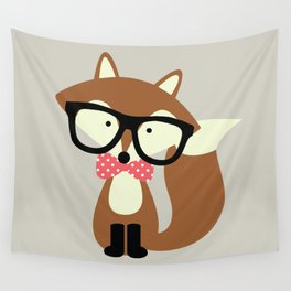 Glasses and Bow Tie Hipster Brown Fox Wall Tapestry