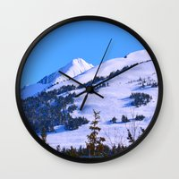 skiing Wall Clocks featuring Back-Country Skiing  - IV by Alaskan Momma Bear