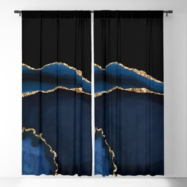 Navy & Gold Agate Texture 05 Blackout Curtain