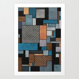 Random Concrete Pattern - Blue, Grey, Brown Art Print