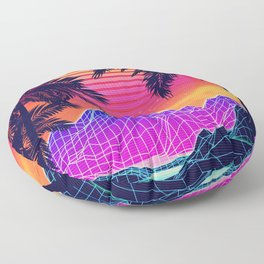 Neon glowing grid rocks and palm trees, futuristic landscape design Floor Pillow