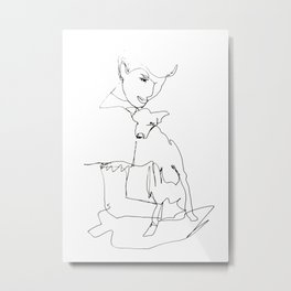 Woman with dog Metal Print