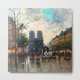 Quai de Louvre - Notre-Dame, Paris, Haussmanian Houses by Antoine Blanchard Metal Print