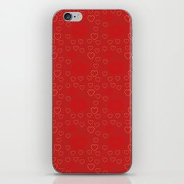 Bright ruby red fancy abstract love style pattern with fine golden hearts and bubbles iPhone Skin