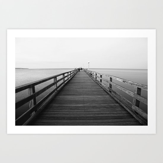 Pier photo in black and white 2 Art Print