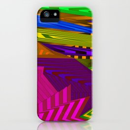 Fancy neon landscap stylised pink mountains, sea and Sun. iPhone Case