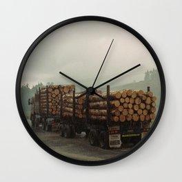 Loggers in the Rain Wall Clock