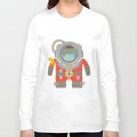 scuba Long Sleeve T-shirts featuring Oso Buzo (Scuba Dibear) by EinarOux