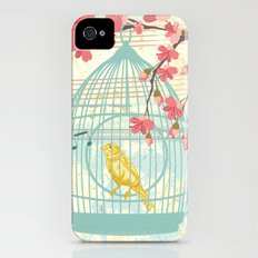 Sketchy Illustration - Canaries, Cherry Blossoms & Bird Cages iPhone (4, 4s) Slim Case