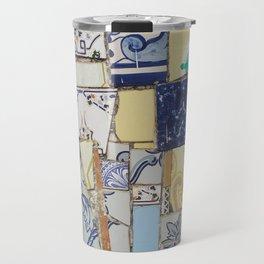 Broken ceramic tiles patchwork Travel Mug