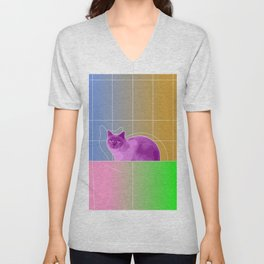 Neon Purple Cat on Colorful Background Unisex V-Neck