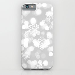 Christmas Snowflakes Bokeh Silver Pattern iPhone Case