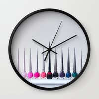 nail polish Wall Clocks featuring Wicked Nail Polish by Images by Danielle