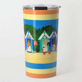 Colorful Beachhuts Travel Mug
